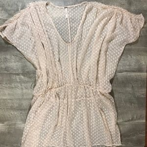 Free people pale pink sheer tunic size s